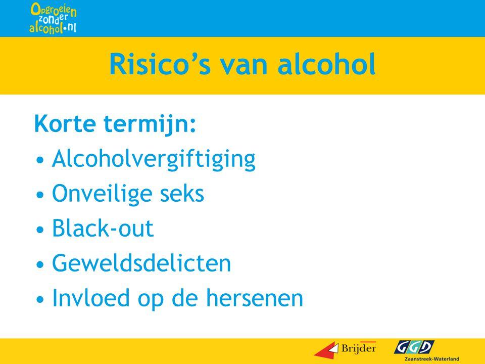 Risico's van alcohol Korte termijn: •Alcoholvergiftiging •Onveilige seks •Black-out •Geweldsdelicten •Invloed op de hersenen