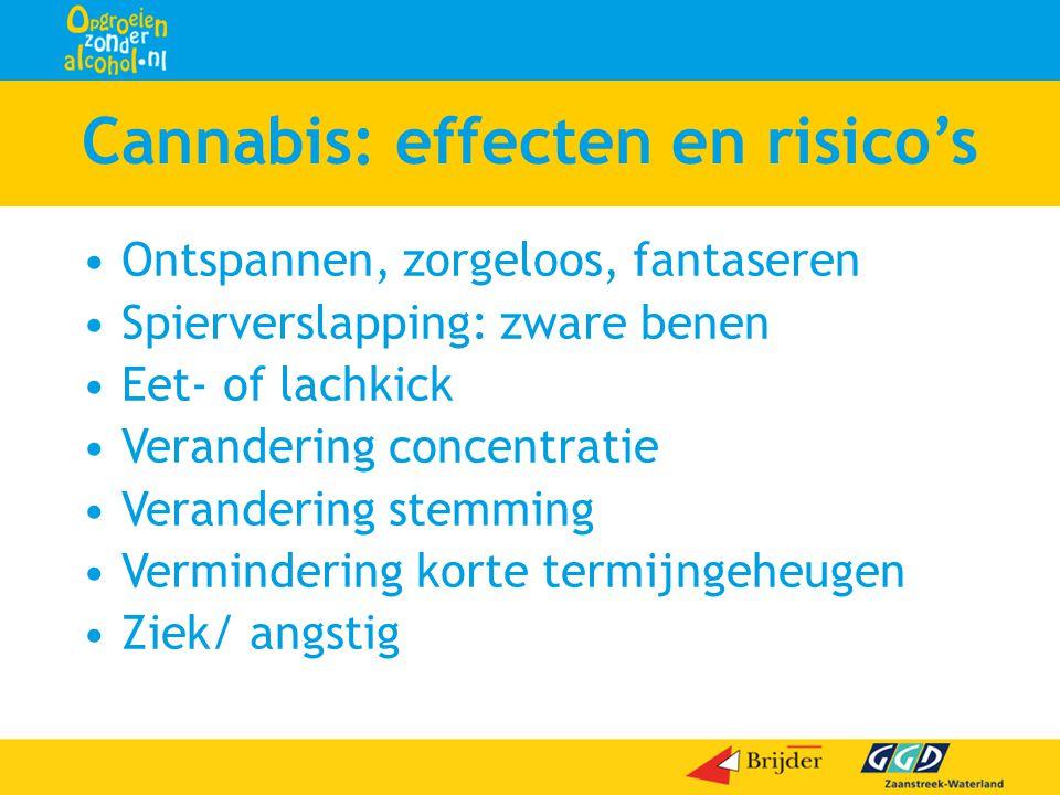 Cannabis: effecten en risico's •Ontspannen, zorgeloos, fantaseren •Spierverslapping: zware benen •Eet- of lachkick •Verandering concentratie •Verander