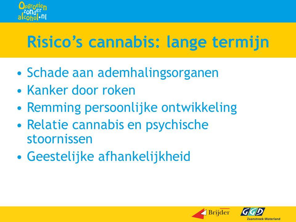 Risico's cannabis: lange termijn •Schade aan ademhalingsorganen •Kanker door roken •Remming persoonlijke ontwikkeling •Relatie cannabis en psychische