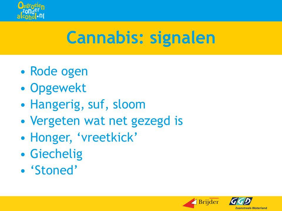 Cannabis: signalen •Rode ogen •Opgewekt •Hangerig, suf, sloom •Vergeten wat net gezegd is •Honger, 'vreetkick' •Giechelig •'Stoned'