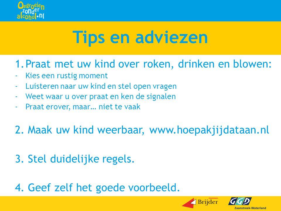 Tips en adviezen 1.Praat met uw kind over roken, drinken en blowen: -Kies een rustig moment -Luisteren naar uw kind en stel open vragen -Weet waar u o