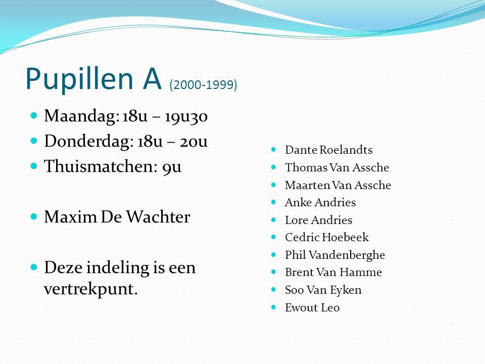 Pupillen A (2000-1999)  Maandag: 18u – 19u30  Donderdag: 18u – 20u  Thuismatchen: 9u  Maxim De Wachter  Deze indeling is een vertrekpunt.