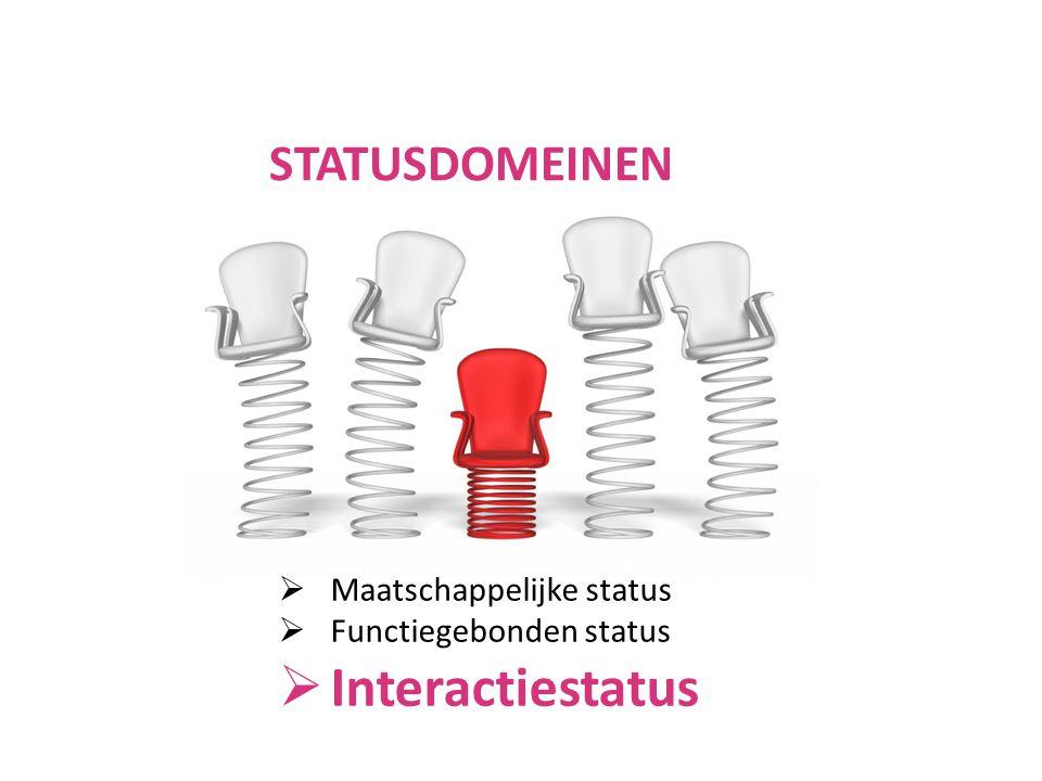  Maatschappelijke status  Functiegebonden status  Interactiestatus STATUSDOMEINEN