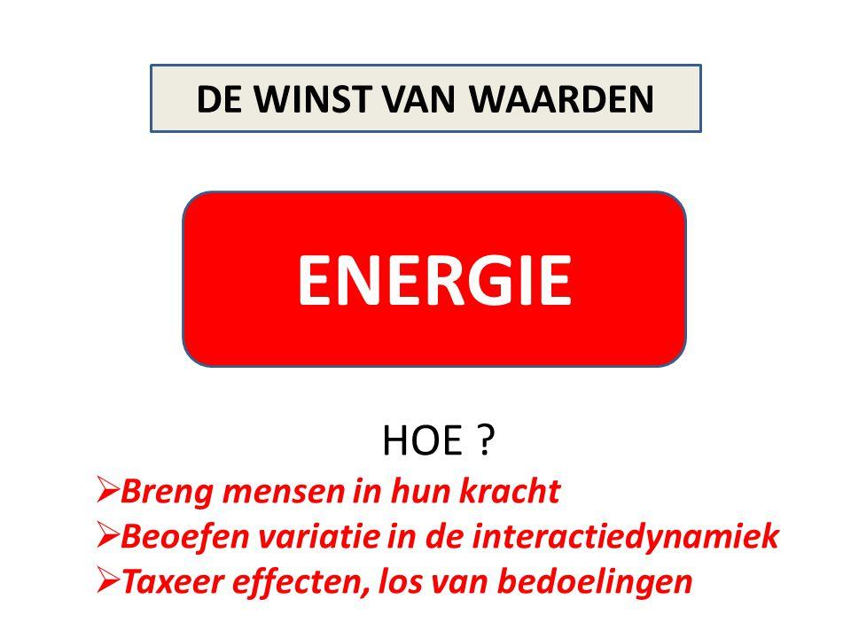 ENERGIE DE WINST VAN WAARDEN HOE ?  Breng mensen in hun kracht  Beoefen variatie in de interactiedynamiek  Taxeer effecten, los van bedoelingen