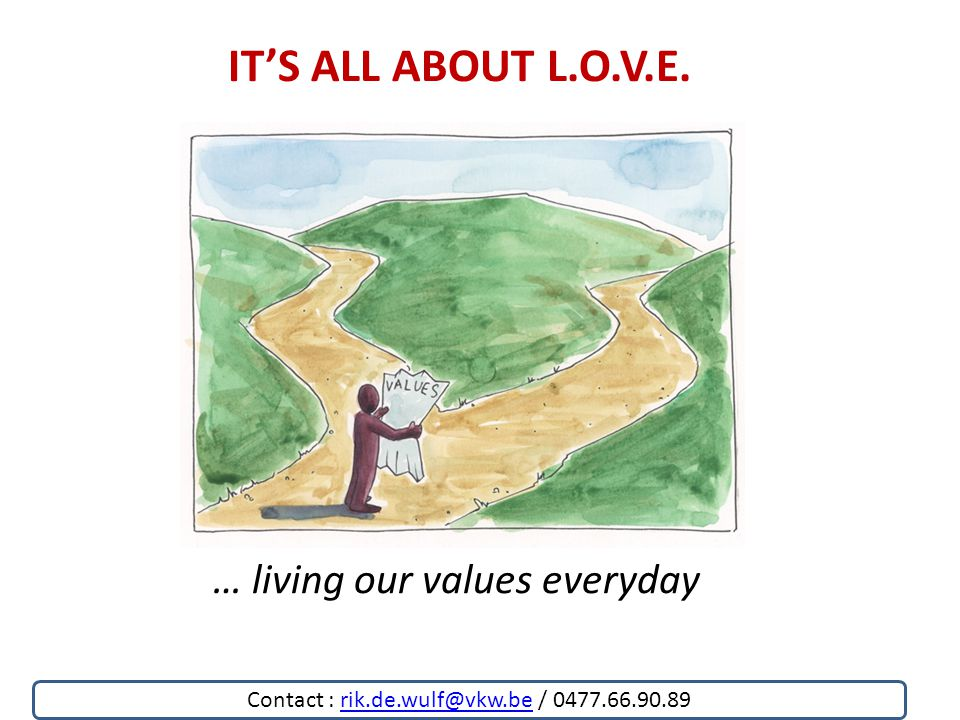 IT'S ALL ABOUT L.O.V.E. … living our values everyday Contact : rik.de.wulf@vkw.be / 0477.66.90.89rik.de.wulf@vkw.be