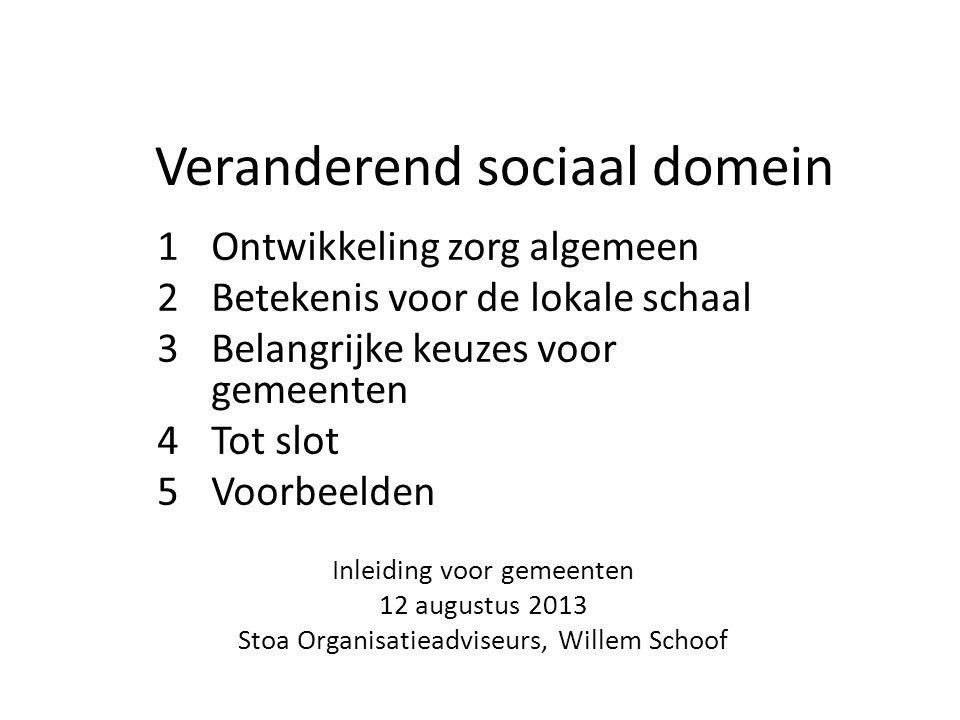 Veranderend sociaal domein 1Ontwikkeling zorg algemeen 2Betekenis voor de lokale schaal 3Belangrijke keuzes voor gemeenten 4Tot slot 5Voorbeelden Inle