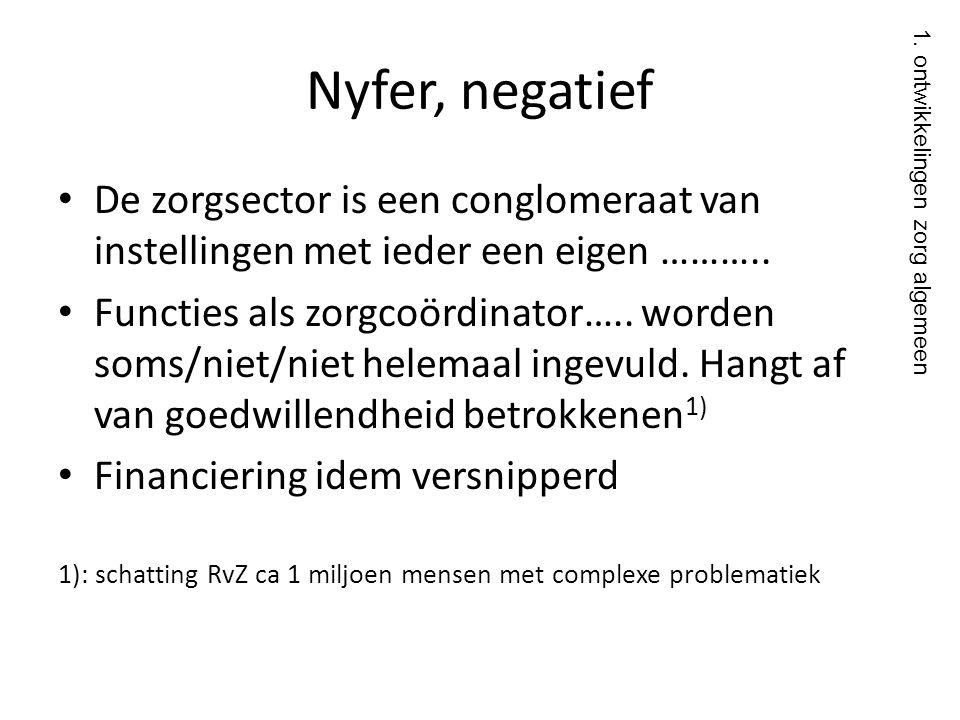 Nyfer, negatief • De zorgsector is een conglomeraat van instellingen met ieder een eigen ……….. • Functies als zorgcoördinator….. worden soms/niet/niet