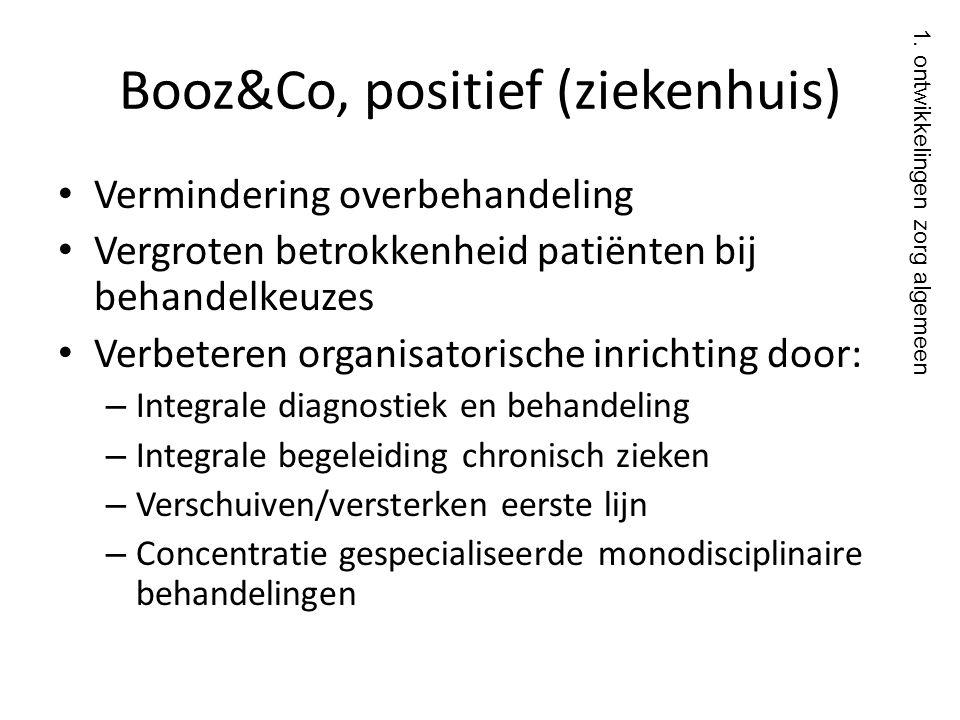 Booz&Co, positief (ziekenhuis) • Vermindering overbehandeling • Vergroten betrokkenheid patiënten bij behandelkeuzes • Verbeteren organisatorische inr