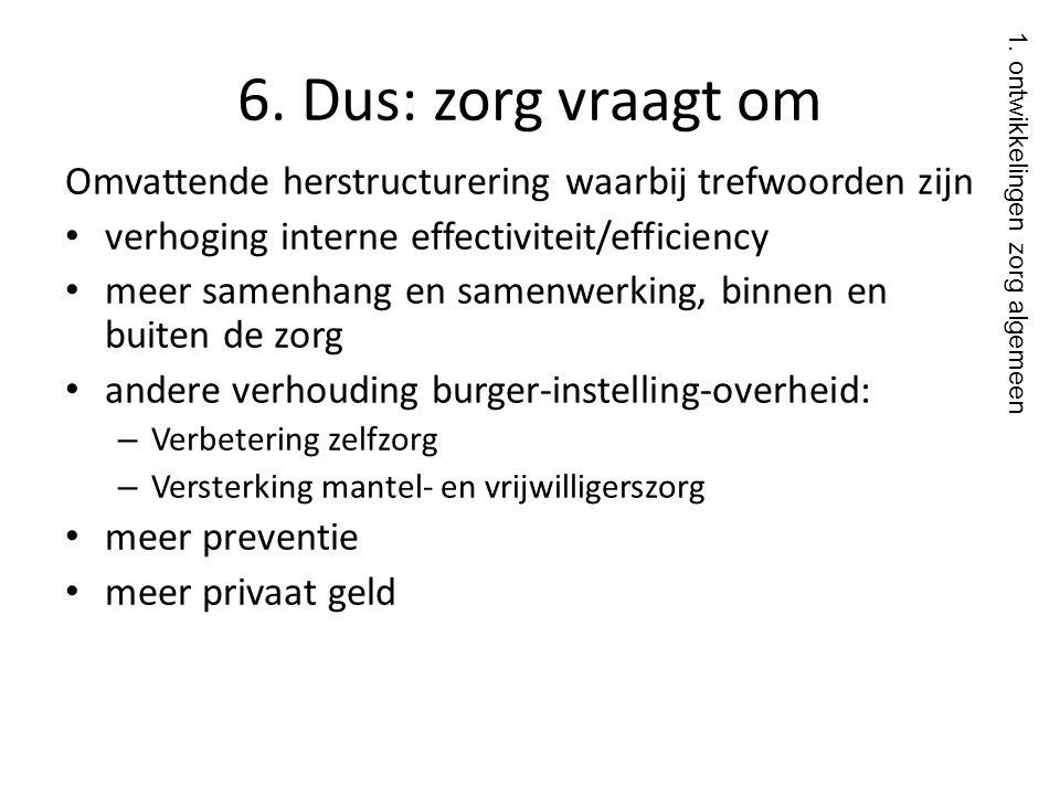 6. Dus: zorg vraagt om Omvattende herstructurering waarbij trefwoorden zijn • verhoging interne effectiviteit/efficiency • meer samenhang en samenwerk
