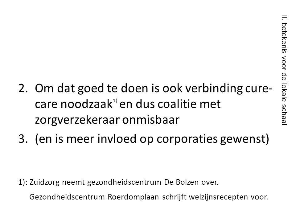 2. Om dat goed te doen is ook verbinding cure- care noodzaak 1) en dus coalitie met zorgverzekeraar onmisbaar 3.(en is meer invloed op corporaties gew