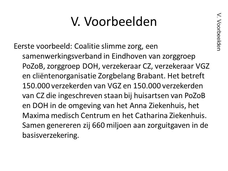 V. Voorbeelden Eerste voorbeeld: Coalitie slimme zorg, een samenwerkingsverband in Eindhoven van zorggroep PoZoB, zorggroep DOH, verzekeraar CZ, verze