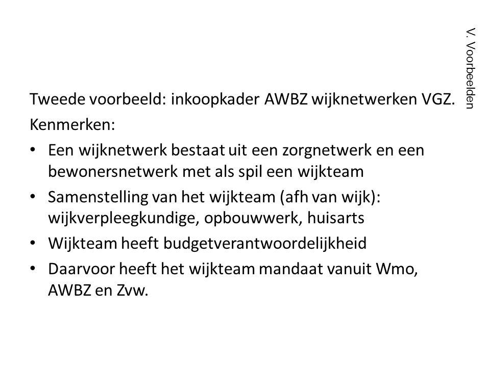 Tweede voorbeeld: inkoopkader AWBZ wijknetwerken VGZ. Kenmerken: • Een wijknetwerk bestaat uit een zorgnetwerk en een bewonersnetwerk met als spil een
