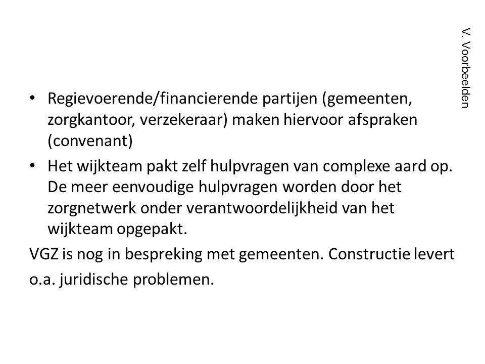 • Regievoerende/financierende partijen (gemeenten, zorgkantoor, verzekeraar) maken hiervoor afspraken (convenant) • Het wijkteam pakt zelf hulpvragen