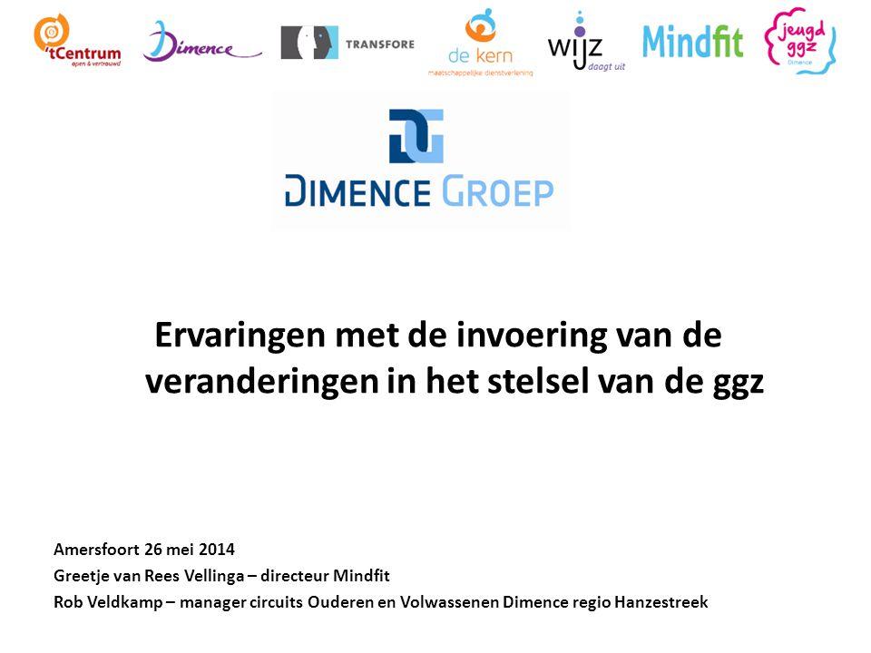 Ervaringen met de invoering van de veranderingen in het stelsel van de ggz Amersfoort 26 mei 2014 Greetje van Rees Vellinga – directeur Mindfit Rob Ve