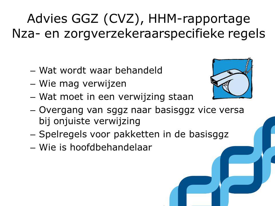 Advies GGZ (CVZ), HHM-rapportage Nza- en zorgverzekeraarspecifieke regels – Wat wordt waar behandeld – Wie mag verwijzen – Wat moet in een verwijzing