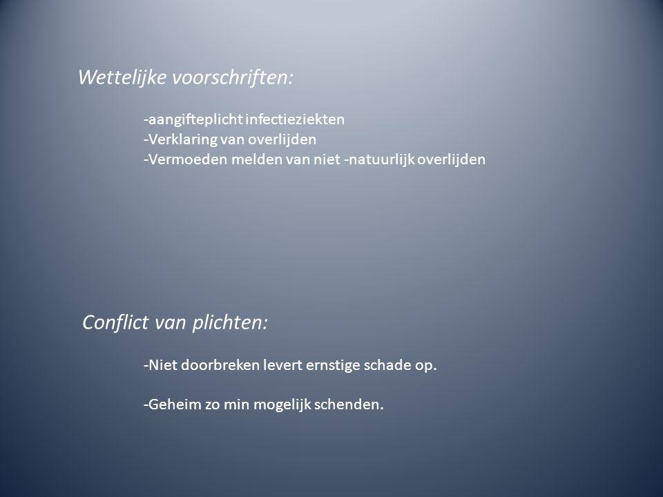 Wettelijke voorschriften: -aangifteplicht infectieziekten -Verklaring van overlijden -Vermoeden melden van niet -natuurlijk overlijden Conflict van pl