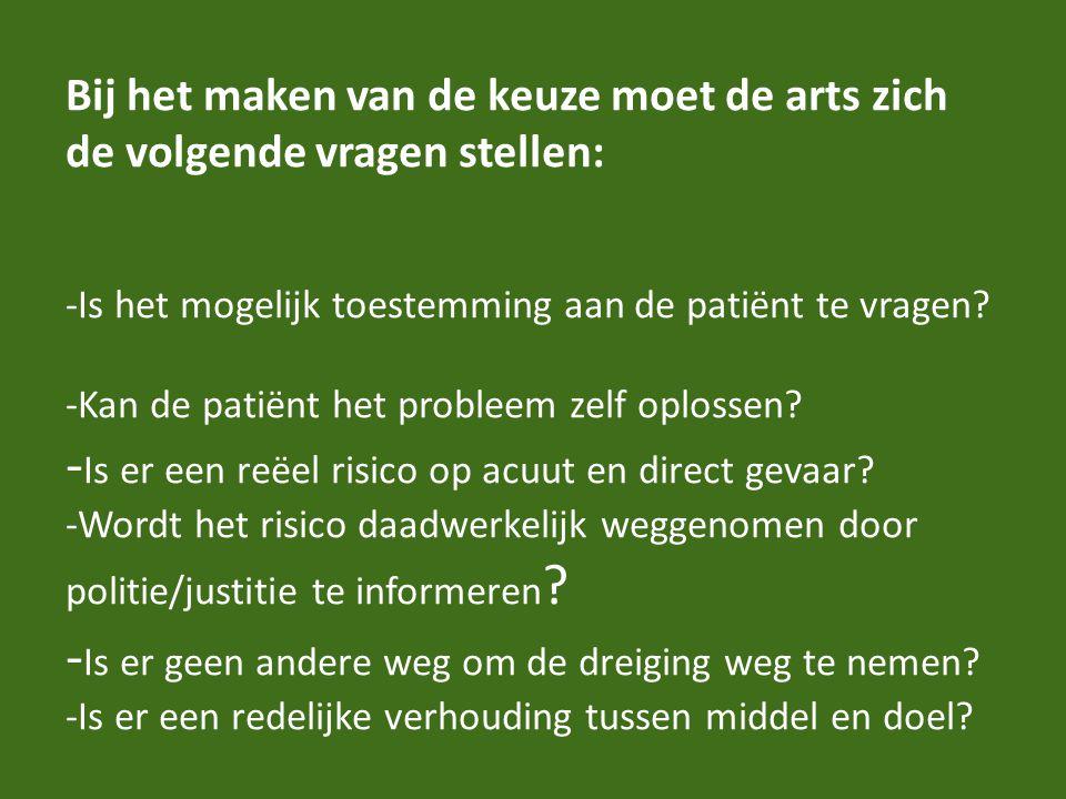 Bij het maken van de keuze moet de arts zich de volgende vragen stellen: -Is het mogelijk toestemming aan de patiënt te vragen.