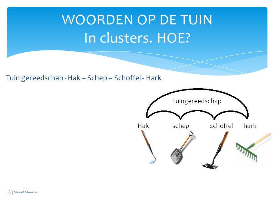 Tuin gereedschap - Hak – Schep – Schoffel - Hark WOORDEN OP DE TUIN In clusters. HOE? tuingereedschap Hak schep schoffel hark (c) Mees&Meester