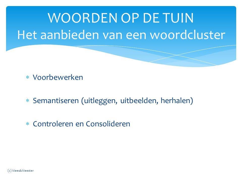  Voorbewerken  Semantiseren (uitleggen, uitbeelden, herhalen)  Controleren en Consolideren WOORDEN OP DE TUIN Het aanbieden van een woordcluster (c