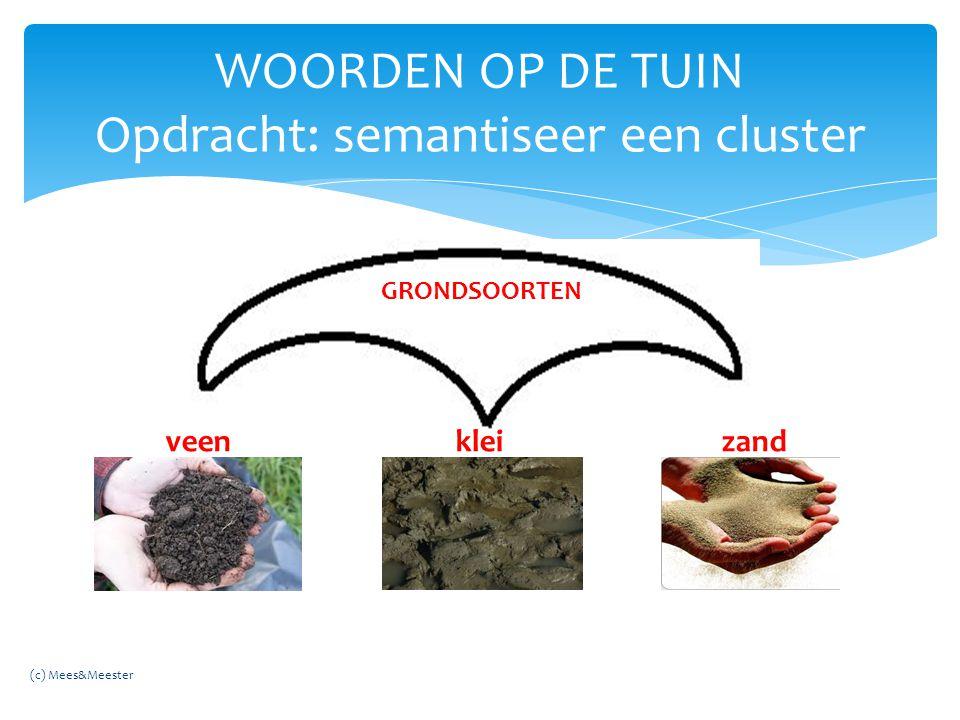 WOORDEN OP DE TUIN Opdracht: semantiseer een cluster GRONDSOORTEN veen klei zand (c) Mees&Meester