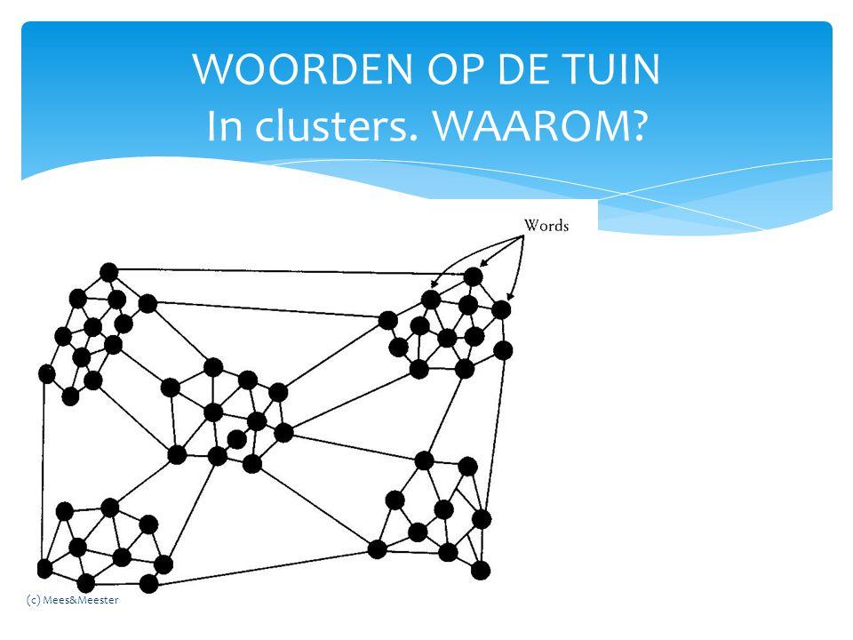 WOORDEN OP DE TUIN In clusters. WAAROM? (c) Mees&Meester