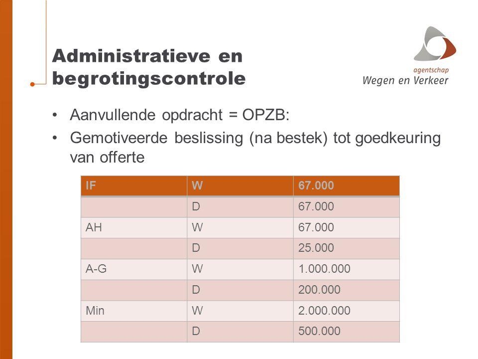 Administratieve en begrotingscontrole •Aanvullende opdracht = OPZB: •Gemotiveerde beslissing (na bestek) tot goedkeuring van offerte IFW67.000 D AHW67.000 D25.000 A-GW1.000.000 D200.000 MinW2.000.000 D500.000