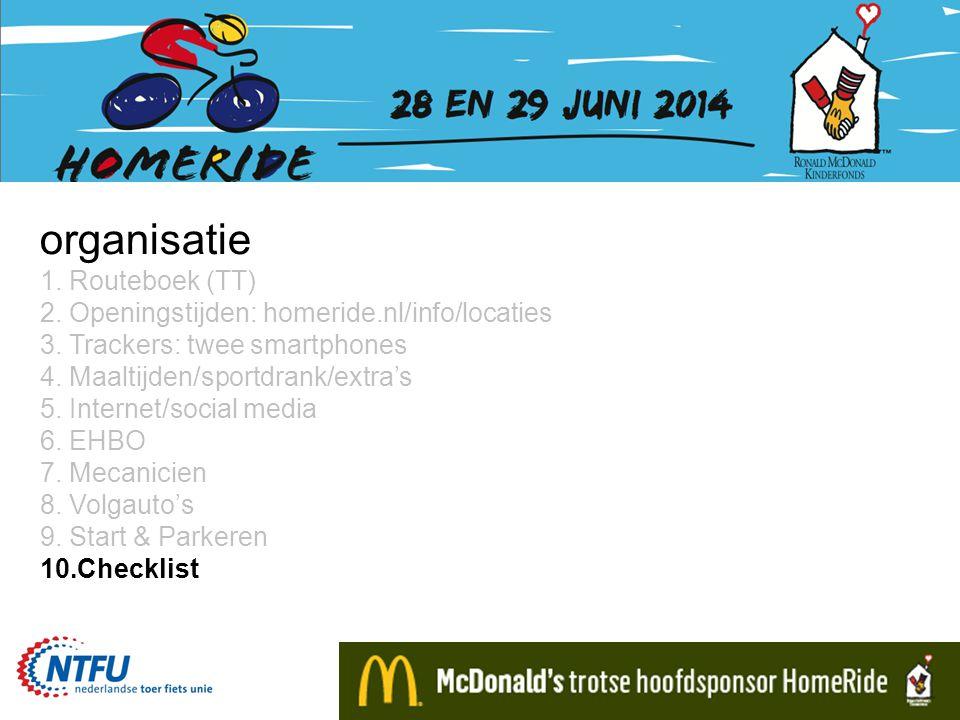 organisatie 1. Routeboek (TT) 2. Openingstijden: homeride.nl/info/locaties 3.