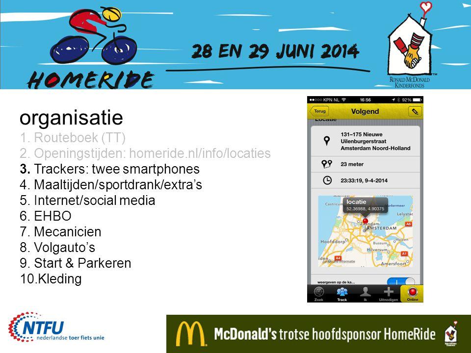 organisatie 1. Routeboek (TT) 2. Openingstijden: homeride.nl/info/locaties 3. Trackers: twee smartphones 4. Maaltijden/sportdrank/extra's 5. Internet/