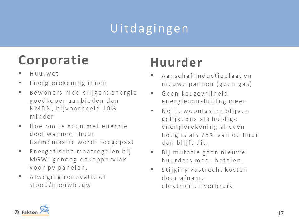 © 17 Uitdagingen Corporatie  Huurwet  Energierekening innen  Bewoners mee krijgen: energie goedkoper aanbieden dan NMDN, bijvoorbeeld 10% minder 