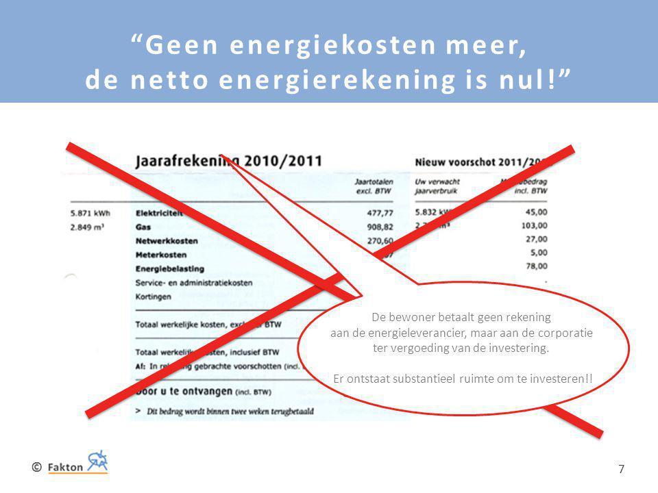 """© 7 """"Geen energiekosten meer, de netto energierekening is nul!"""" De bewoner betaalt geen rekening aan de energieleverancier, maar aan de corporatie ter"""