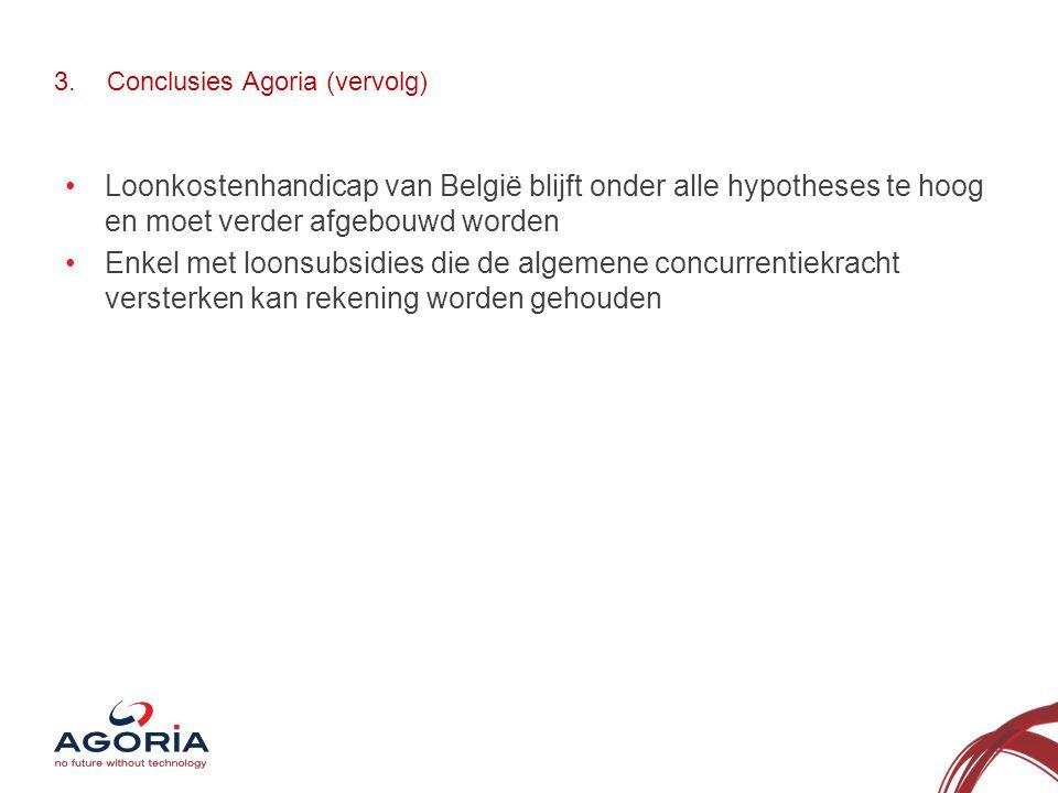 3.Conclusies Agoria (vervolg) •Loonkostenhandicap van België blijft onder alle hypotheses te hoog en moet verder afgebouwd worden •Enkel met loonsubsidies die de algemene concurrentiekracht versterken kan rekening worden gehouden