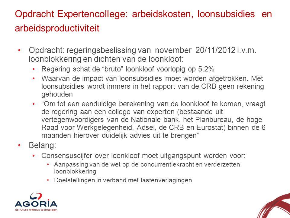 Opdracht Expertencollege: arbeidskosten, loonsubsidies en arbeidsproductiviteit •Opdracht: regeringsbeslissing van november 20/11/2012 i.v.m.
