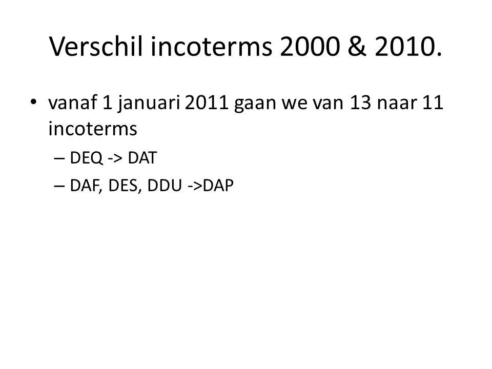 Verschil incoterms 2000 & 2010.