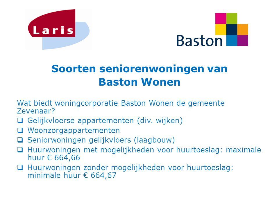 Soorten seniorenwoningen van Baston Wonen Wat biedt woningcorporatie Baston Wonen de gemeente Zevenaar?  Gelijkvloerse appartementen (div. wijken) 