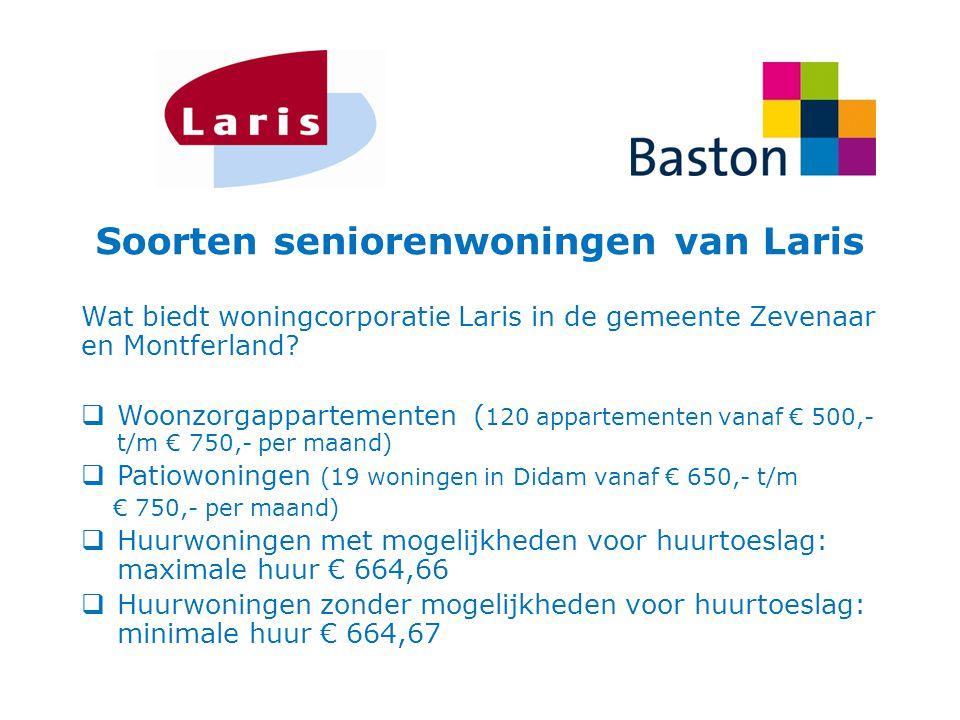 Soorten seniorenwoningen van Laris Wat biedt woningcorporatie Laris in de gemeente Zevenaar en Montferland?  Woonzorgappartementen ( 120 appartemente