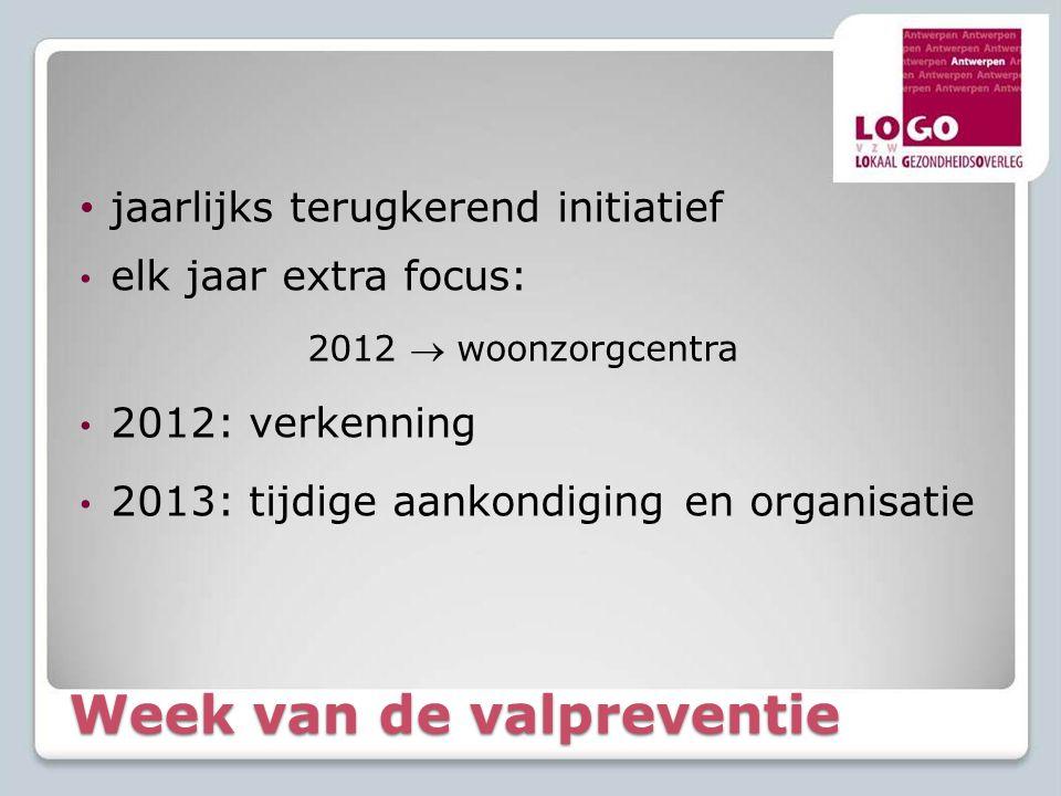 Week van de valpreventie • jaarlijks terugkerend initiatief • elk jaar extra focus: 2012  woonzorgcentra • 2012: verkenning • 2013: tijdige aankondig