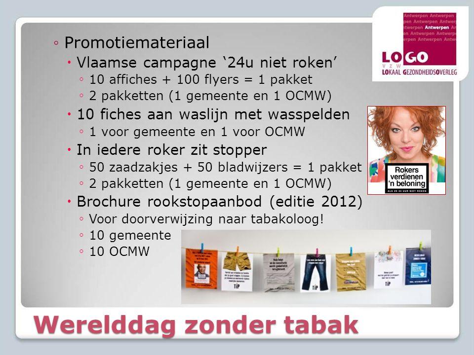 Werelddag zonder tabak ◦Promotiemateriaal  Vlaamse campagne '24u niet roken' ◦ 10 affiches + 100 flyers = 1 pakket ◦ 2 pakketten (1 gemeente en 1 OCM