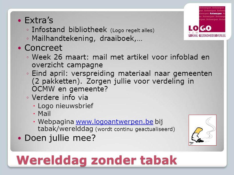 Werelddag zonder tabak  Extra's ◦Infostand bibliotheek (Logo regelt alles) ◦Mailhandtekening, draaiboek,…  Concreet ◦Week 26 maart: mail met artikel