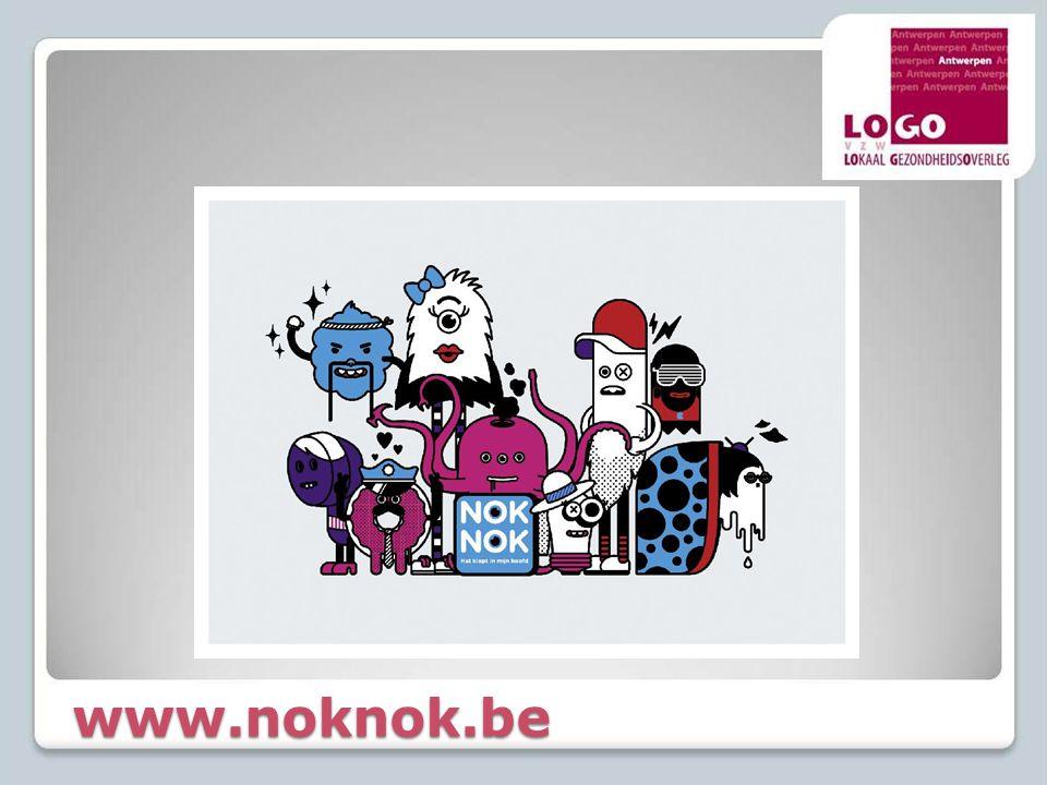 Nok Nok – herlancering 2012  Herlancering 10.10.2012 ◦Jeugdverenigingen werken 1 week rond NokNok  Inspiratiegids per knaltip aangeleverd door Vigez ◦Vormingen van Vigez voor jongerenbegeleiders