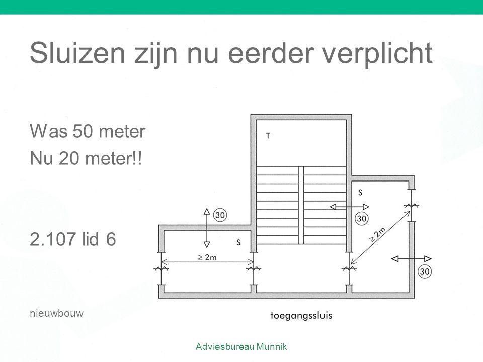 Sluizen zijn nu eerder verplicht Was 50 meter Nu 20 meter!! 2.107 lid 6 nieuwbouw Adviesbureau Munnik