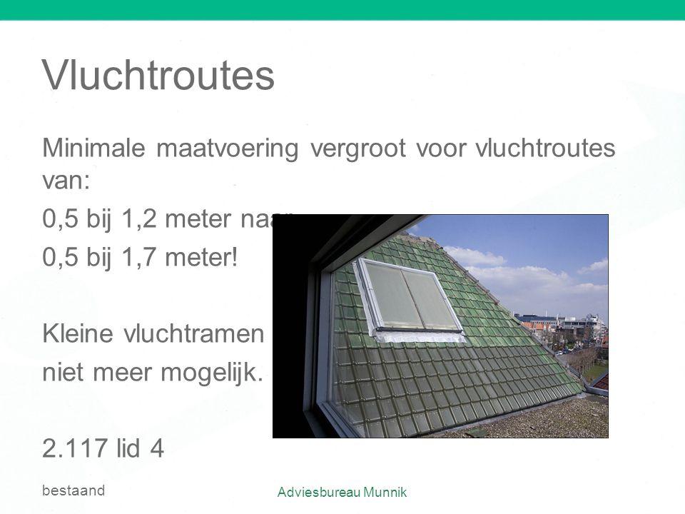 Vluchtroutes Minimale maatvoering vergroot voor vluchtroutes van: 0,5 bij 1,2 meter naar 0,5 bij 1,7 meter! Kleine vluchtramen niet meer mogelijk. 2.1