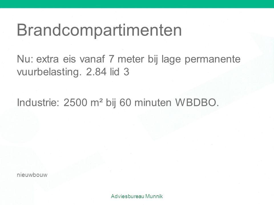 Brandcompartimenten Nu: extra eis vanaf 7 meter bij lage permanente vuurbelasting. 2.84 lid 3 Industrie: 2500 m² bij 60 minuten WBDBO. nieuwbouw Advie