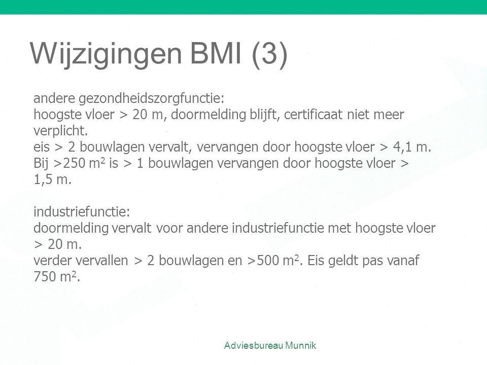 Wijzigingen BMI (3) Adviesbureau Munnik andere gezondheidszorgfunctie: hoogste vloer > 20 m, doormelding blijft, certificaat niet meer verplicht. eis