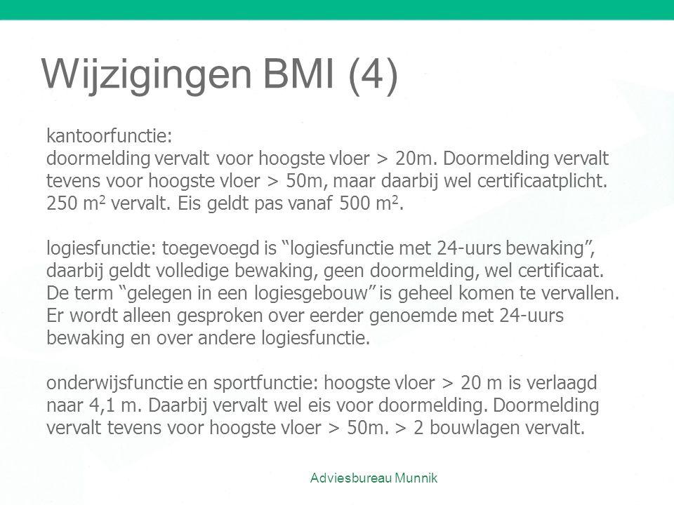 Wijzigingen BMI (4) Adviesbureau Munnik kantoorfunctie: doormelding vervalt voor hoogste vloer > 20m. Doormelding vervalt tevens voor hoogste vloer >