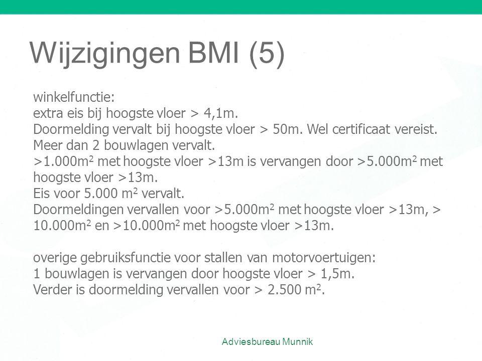 Wijzigingen BMI (5) Adviesbureau Munnik winkelfunctie: extra eis bij hoogste vloer > 4,1m. Doormelding vervalt bij hoogste vloer > 50m. Wel certificaa