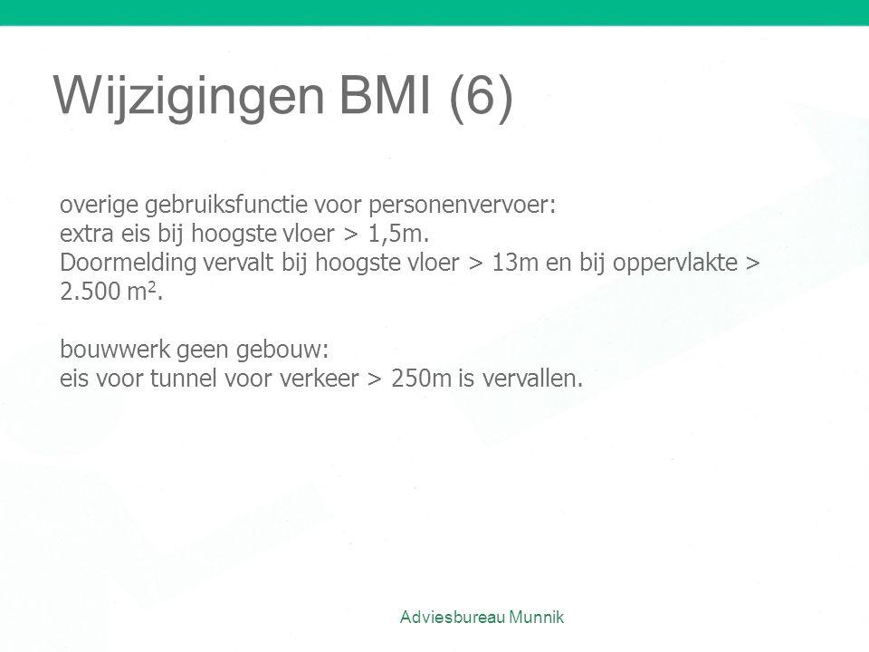 Wijzigingen BMI (6) Adviesbureau Munnik overige gebruiksfunctie voor personenvervoer: extra eis bij hoogste vloer > 1,5m. Doormelding vervalt bij hoog