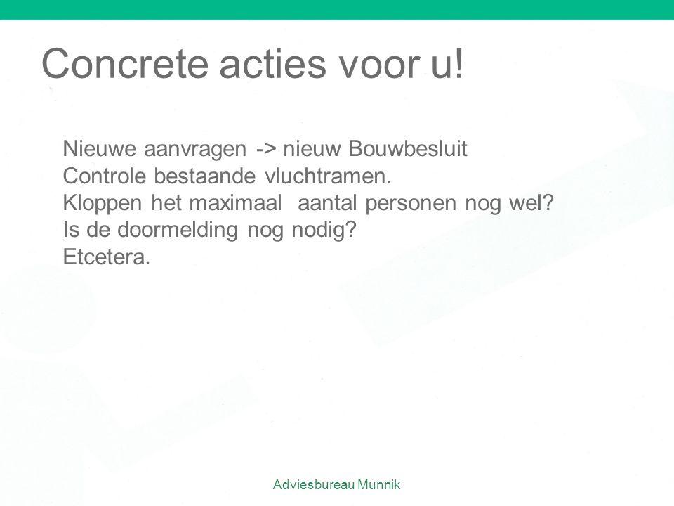 Adviesbureau Munnik Concrete acties voor u! Nieuwe aanvragen -> nieuw Bouwbesluit Controle bestaande vluchtramen. Kloppen het maximaal aantal personen