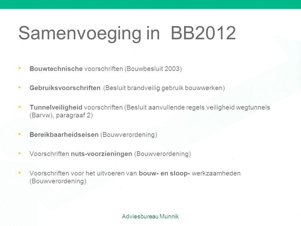 Samenvoeging in BB2012 • • Bouwtechnische voorschriften (Bouwbesluit 2003) • • Gebruiksvoorschriften (Besluit brandveilig gebruik bouwwerken) • • Tunn