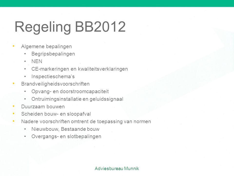 Regeling BB2012 • • Algemene bepalingen • •Begripsbepalingen • •NEN • •CE-markeringen en kwaliteitsverklaringen • •Inspectieschema's • • Brandveilighe