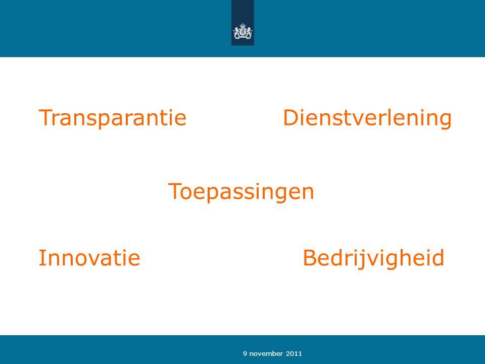 9 november 2011 Toepassingen BedrijvigheidInnovatie DienstverleningTransparantie